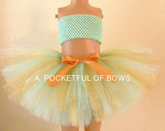 Mint and Gold Birthday Tutu, Mint and Gold Flower Girl Tutu