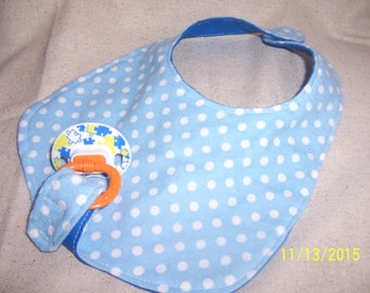 Baby's gift, Baby bib, pacifier holder, binky holder bib, blue baby bib, boys blue baby bib, Pacifier drool bib, pacifier bib