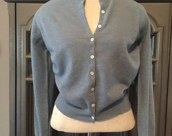 50s Blue Cashmere Sweetheart Cardigan Sweater
