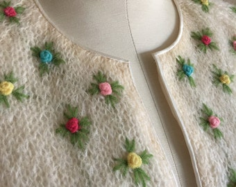 60s Rosette Embellished Lined Mohair Cardigan Sweater