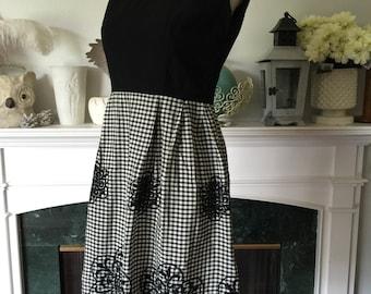 60s Sleeveless Black Gingham Summer Dress