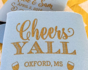 Cheers Yall wedding can cooler, Southern cheers y'all kosy, Cheers wedding favor, Cheers Yall wedding beer holder, stubby holder (200 qty)