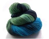 hand dyed sock yarn - Hand painted yarn Merino - Sock Yarn Fingering -  blue, turquoise, green, black, gray - knit - hand dyed yarn - OOAK