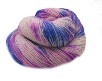 Hand painted hand-dyed Sock yarn - Fingering with Cotton - lilac,silver, grey, blue for  socks or shawls for spring and summer