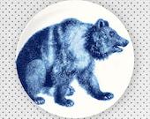 Black Bear in methyl blue, melamine plate