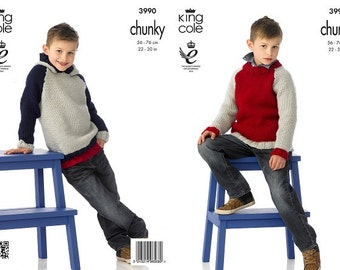 Knitting Pattern King Cole 3990 Boys Chunky knit Sweater Hoodie