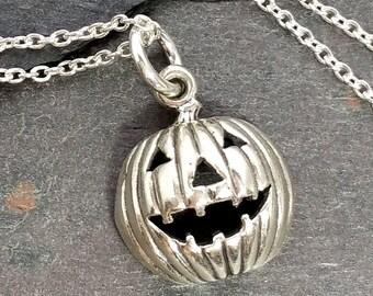 Jack O Lantern Necklace - 925 Sterling Silver - 3D Halloween Pumpkin Charm NEW