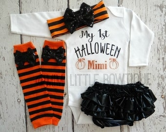 Personalized- My first Halloween outfit- Halloween shirt, Glitter girl shirt, Halloween outfit,  My first halloween