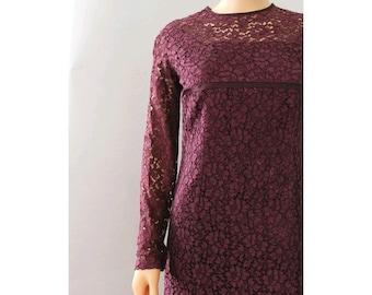 Prune 1950  Lace Dress medium