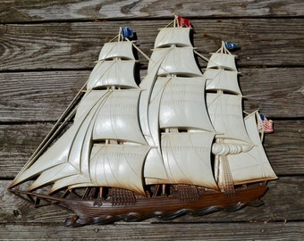 Nautical Wall Art. Large Vintage Clipper Ship Relief Plaque.  1960's Tall Ship Molded Plastic Wall Decoration. WA31