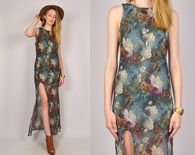 Floral Maxi Dress High Slit Boho Festival