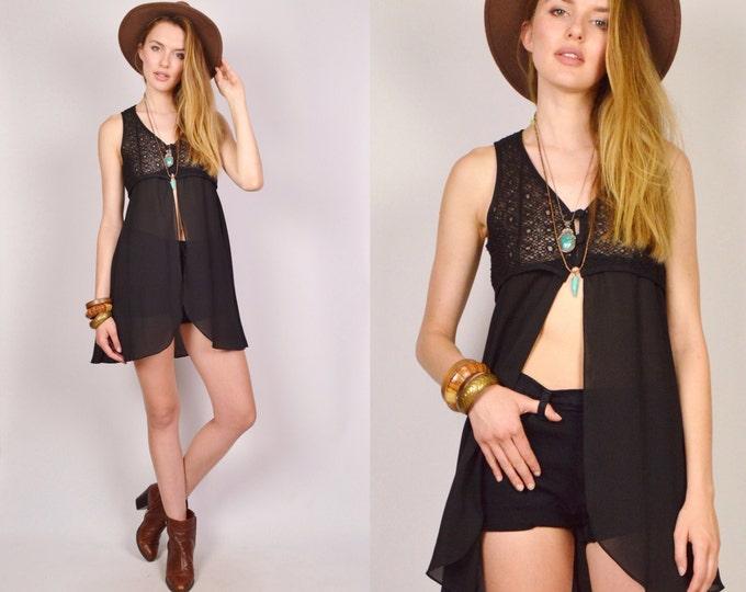 Babydoll Crop Top Long Vest Black Sheer Festival Dress