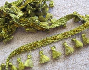 "Green Tassel Fringe Upholstery Pillow Costume Trim  - 1"" Inch Wide - 2 Yards Each Length (09)"