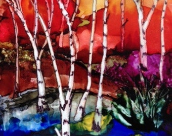 Birches  - Ink on Tile- SOLD
