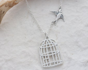 Gorgeous Graduation Necklace, Sterling silver Bird & Sterling silver necklace. Fly Free Bird, Silver Bird cage. graduation Gift. cancer free