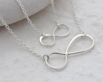 SET Mother daughter necklace.Sterling Silver NFINITY Necklace . Infinity Jewelry. Mom and Daughter . Mothers gift . Mother daughter Jewelry,