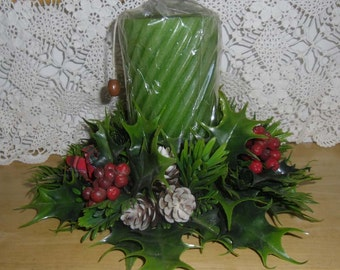 Vintage Christmas Centerpiece - Plastic Candle Ring, Green Pillar Candle, Christmas Decor