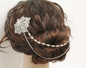 Wedding hair chain,Pearl hair chain,Bridal headpiece,Wedding head chain,Bridal head chain,Wedding hair jewelry,Wedding hair vine,Bridal comb