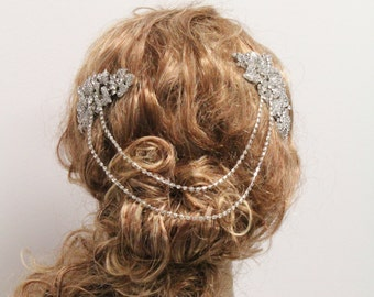 Silver Bridal hair chain Vintage style Wedding hair chain Bridal hair accessory Wedding headpiece Bridal hair piece Wedding hair accessory