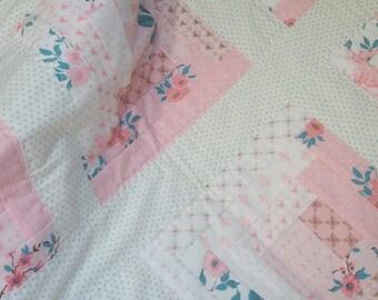 GIRL QUILT, floral, floral quilt, flowers, pink quilt