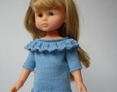"""Hand Knitted Short Sleeve Tunic Top with Ruffle Collar - Blue for 13"""" Doll  (Les Cheries, Little Darling, Similar) - Ready to Ship"""