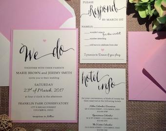 SAMPLE Caroline Wedding Invitation (Ivory/Blush)