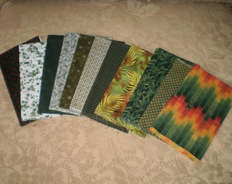 11 Cotton Fabric Fat Quarters in Shades of Green