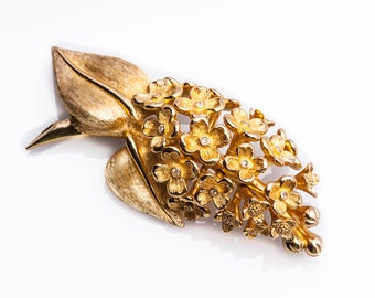 CHRISTIAN DIOR Brooch Vintage Floral Rhinestone Large Haute Couture Gold  Signed
