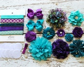 Teal and Purple - Baby Shower DIY Headband Making Kit - Peacock Mermaid First Birthday Party - Headband Station - MAKES 10 or 25+ HEADBANDS!