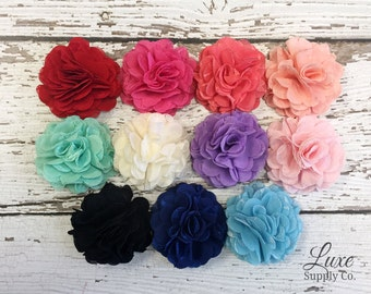 Chiffon and Lace Whimsical Flower Puffs - You Choose the Color and Quantity! Boutique supplies - Baby Headbands