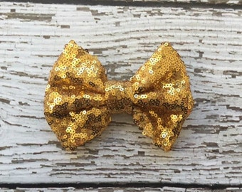 "CLEARANCE - Large 4.75"" Gold Sequin Bow Applique - You choose the quantity! Baby Headbands - Boutique Supplies"