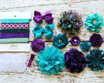 teal and purple baby shower diy headband making kit peacock mermaid first birthday party