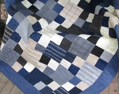 Quilt - Lap Quilt, Sofa Quilt, Quilted Throw - Moda Wool and Needle Flannel Quilt - Man Quilt - Winter Warmer Quilt