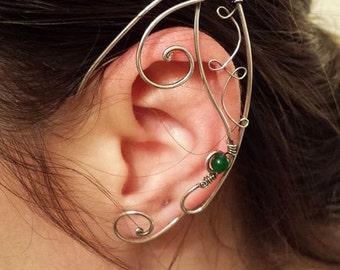 Elf Ear cuffs Sterling silver and Jade earrings Fairytale jewelry - Comic con earrings - Steampunk earrings - fairytale wedding -  elf ears