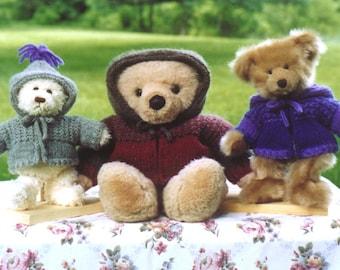 Knitting Pattern - Teddy Bear Sweatshirt Jacket, PDF pattern, teddy bear zippered hooded jacket cardigan sweater hoodie, PDF pattern