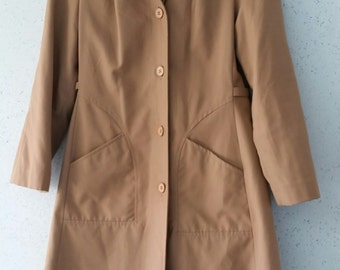 Vintage Women's Jacket Coat / Retro London Fog Style Raincoat Rain Coat  / 1960s 1970s approx 14