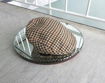 Vintage Flat Cap / Men's Women's Retro Hat / Checkered Tweed Sz 54 6 5/8 / Made Scotland / Wool Mix / 1960s style /Festival Boho