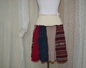 School Girl Skirt....upcycled sweaters.....mocha and burgundy.....small...