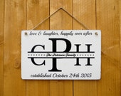 Customized Wedding Date, Monogram, Family Name handpainted sign with rope hanger