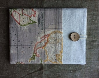 Macbook AIR 11 inch sleeve, macbook case cover, laptop bag with front pocket, Eco Friendly - World Map