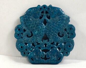 Unique Antique Blue Jade Pendant Double Side Fish Bat double Fish Carved Pendant Amulet Talisman for Your Handmade Jewelry