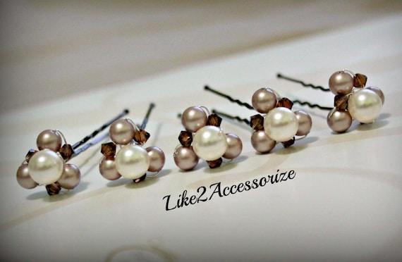 Pearl Hair Pins Wedding Accessories Bridal Hair Piece Crystal Swarovski Pearls Bridal Pearl Hair Pin Champagne White Ivory Pearl Hair Clip