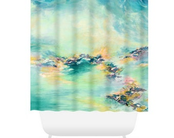 SEA TO SKY 2, Pastel Aqua Teal Colorful Shower Curtain Washable Abstract Serenity Blue Ocean Waves Coastal Beach Home Decor Modern Bathroom