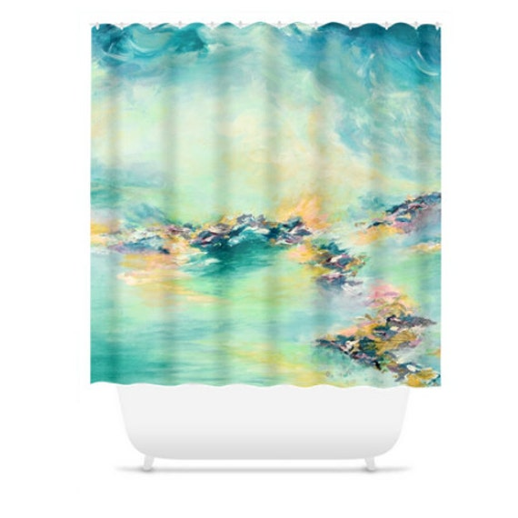 Sea to sky 2 pastel aqua teal colorful shower curtain blue for Pastel teal paint