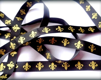 "Fleur De Lis Ribbon Trim, Black / Gold, 5/8"" inch, 1 Yard, For Scrapbook, Stationery, Accessories, Home Decor, Romantic Crafts"