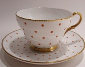 Shelley Red Polka Dot Tea Cup and Saucer  Vintage 1940's Fine Bone China Made in England Gold Trim