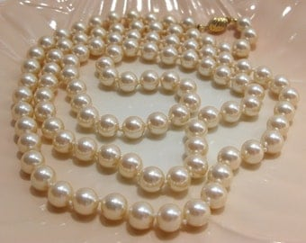 Marvella Long Faux Pearl Necklace