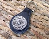 Marine Keychain, USMC Key Ring, Black Leather Key Fob, Key Chain, Groomsmen Gift, Military, Marine Corp Gift, Marine Mom Wife Girlfriend