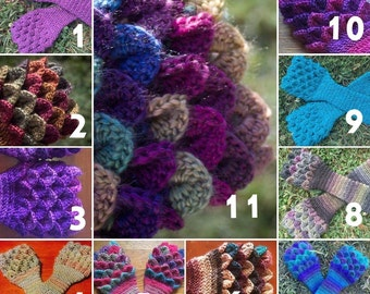 Crochet Dragon Gloves - Dragon Scale Gloves - Arm Warmers - Fingerless Gloves - gauntlet gloves