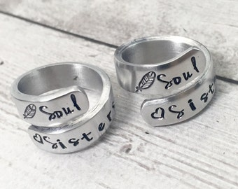 Best Friend Rings - Soul Sisters - Matching Friendship Rings - Greek Sister Rings - Step Sister Rings - Stamped Wrap Ring - Set of 2